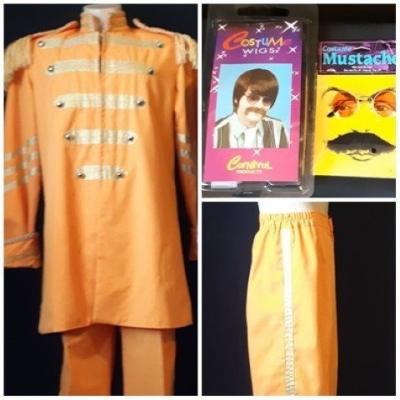 St.Peppers Costume, George Harrison, includes wig, mustache and sunnies, size S