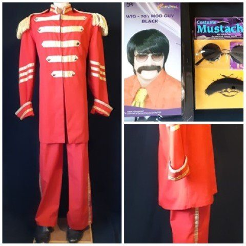 St.Peppers inspried Suit, Red, poly/cotton, size 2Xl