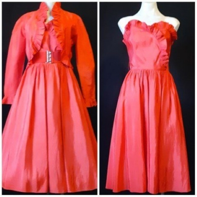 'Leon Haskin' 1980's taffeta Red Dress and Jacket, size 10