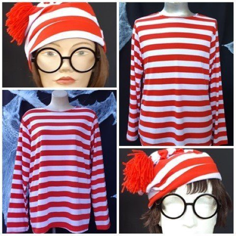 Where's Wally Unisex Costume, cotton/poly, includes top, hat and glasses, Men's size L, Women's size XL
