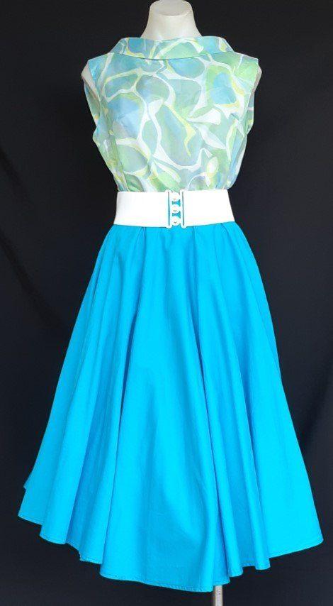 50's Swing Cotton skirt, aqua, size 10