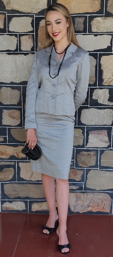 1940's Original Grey silk 2 piece suit, by 'Betty Rose', USA size 6