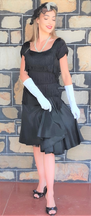 1940's Black Tassled trim cocktail frock, satin, USA size 8