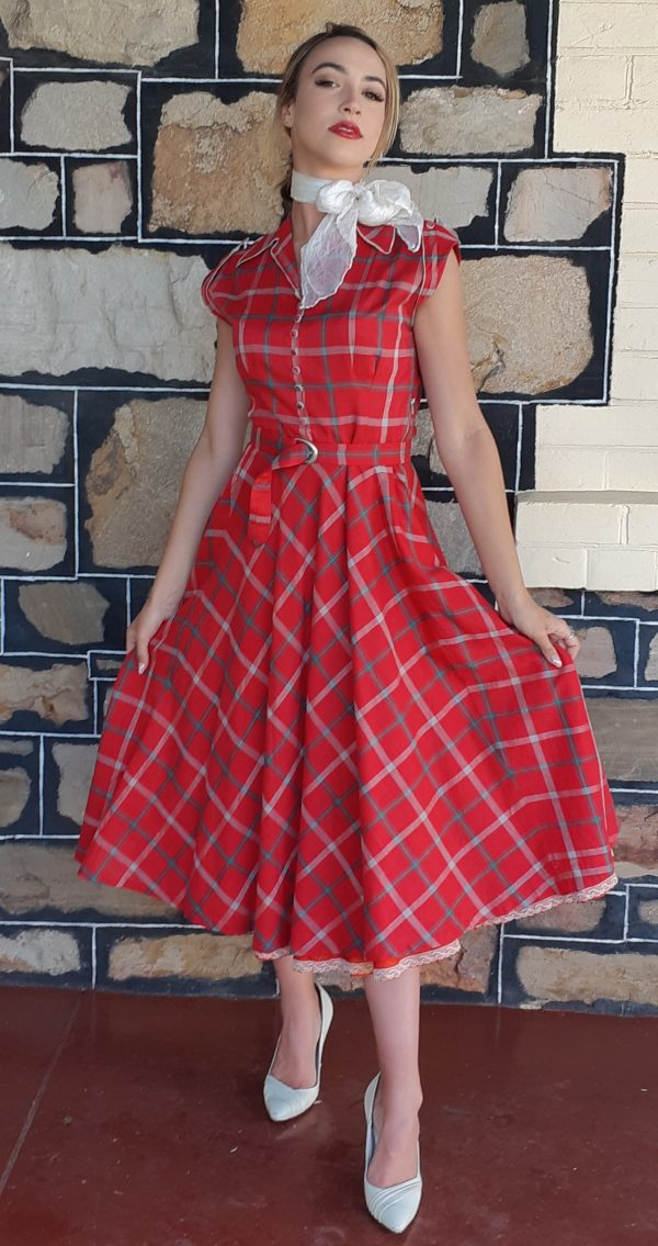 Original and handmade Tartan 50's swing dress, size 8