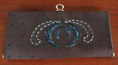 Clutch, Black polyester beaded.