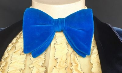 Velvet bow tie, electric blue, 1970's.
