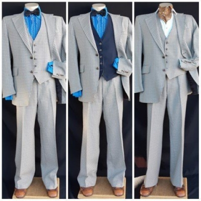 Checked 3piece suit, 1970's/Gatsby inspired, USA, by 'Quad', size L-XL.