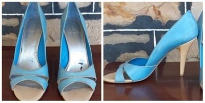 Nine West High Heel leather Peep Toe shoe, blue, size 9M