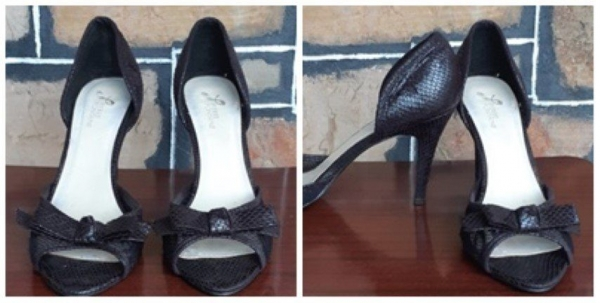 Peep-toe heels, Black synthetic snake fabric by 'Pierre Fontaine', size 8