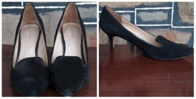 Suede, Vintage look, Black court shoe by 'Country Road', size 41