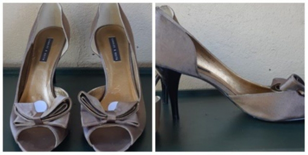 Taupe Peep toe heel, textile, by 'Charles & Keith' size 40'