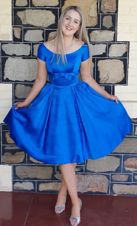 1950's Satin Cocktail frock, electric blue, handmade, size 10