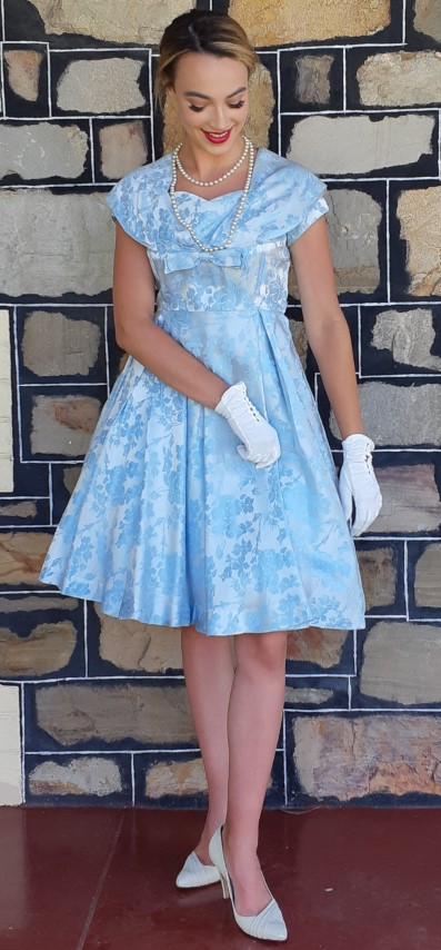 1950's Satain Damask Cocktail frock, USA, pale blue, size 6