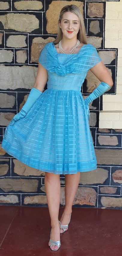 1950's Party Dress, blue, Nylon/satin by 'Linda Patrica', size 10