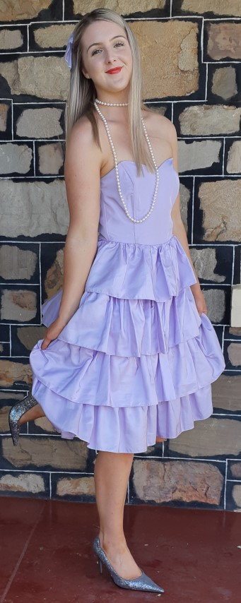 Strapless 1980's Prom dress, lavender, satin polyester by 'She and Co.' size 10