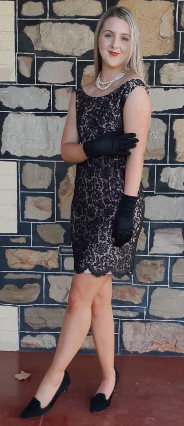 Black lace cocktail dress, pink satin underlay, boat neck, USA, handmade size 10