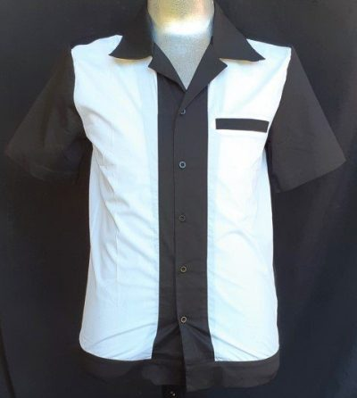 Bowling Shirt, 'My JuJu Dance' cotton, black/white, front pocket.
