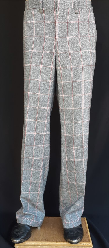 "Checked Golf pants, red/black/ cream wool/poly, by ""Whitmont' 1960's, 37""."