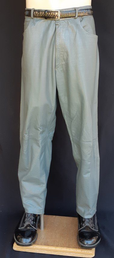 Leather pant, grey, size 38""