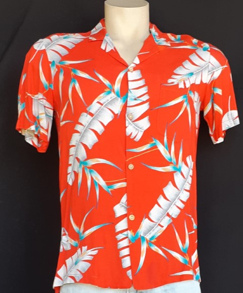 Vintage Hawaiian Shirt, Rayon, Red Palm print, USA by 'Made in Paradise' size M (slight imperfections)