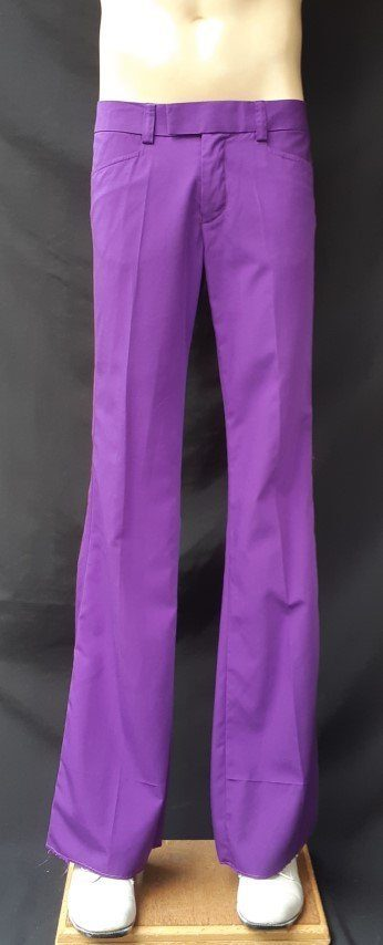 Purple Flares, low rise, poly/cotton by 'Chenaski' of Germany, ex-hire.