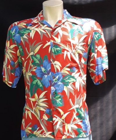 Hawaiian Shirt red Palm print, Made in Hawaii, rayon size XL