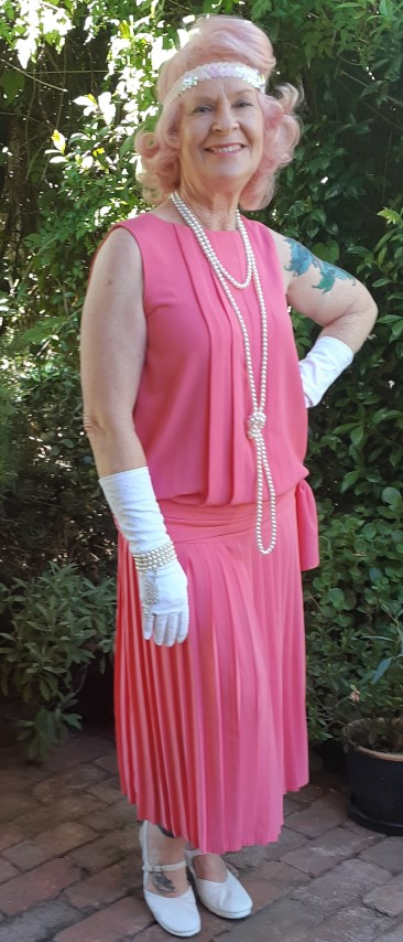20's inspried 1980's dress by 'Masquerade Sydney' coral, polyester size 12
