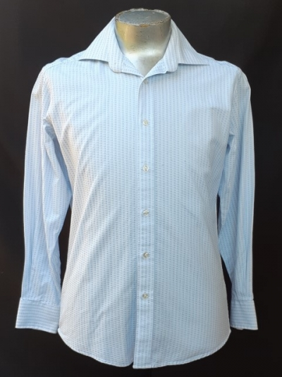 Fine blue cotton checked business shirt by 'Prago', size M