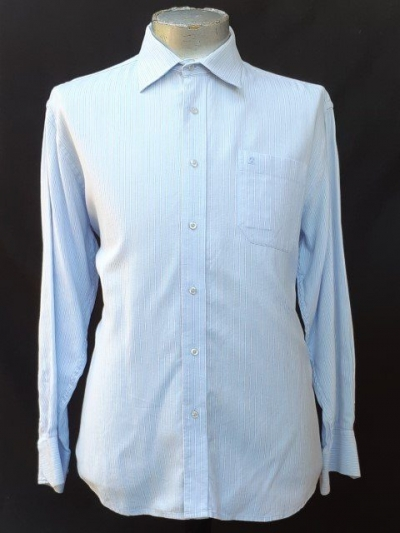 Busines shirt by 'Montagut of Paris', USA, pale blue pinstriped, cotton size XL