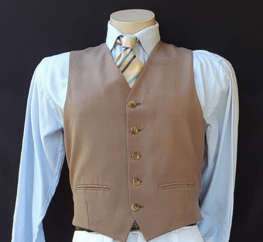 1970's Waistcoat, taupe fine check, polyester, USA, size M