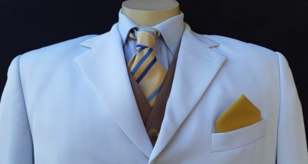 """Pocket Square, Mustard, polyester by 'Ensign', 10'x 10""""."""