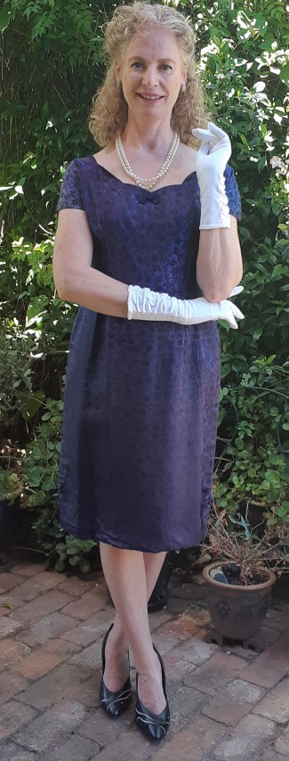 1960's Boat Neck Cocktail dress, navy damask by (needs repair) 'Irene' size 12-14