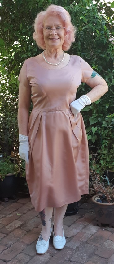 1960's Tulip skirt coctail dress, mushroom, satin polyester by 'Mr. Block of Melbourne', size 14