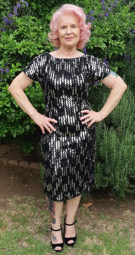 1980's Sequined deep V back cocktail dress, USA, size 10-12