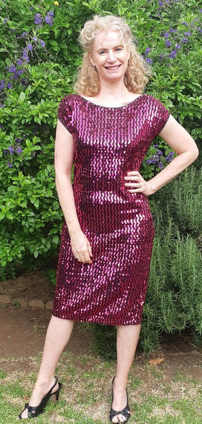 1980's Sequined cocktail frock, hot pink, ployester by 'Peer Gynt' Sydney, size 14