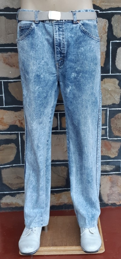 "Acid Wash Stretch Denim Jeans, blue, 1980's by 'Levis', size 36""."