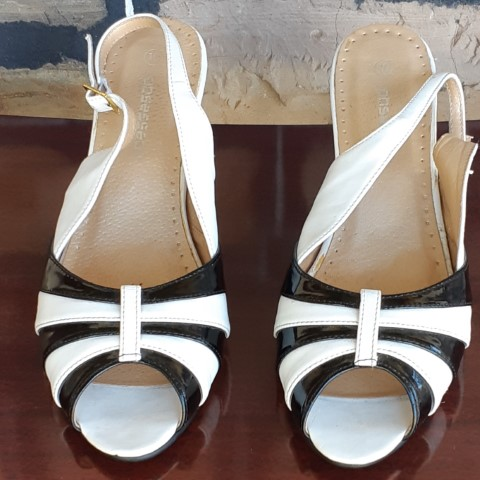 Peep Toe, sling back shoes, white/black patent/leather by 'Obsessed' size 10