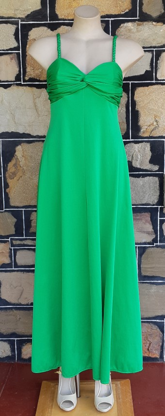 1970's Jersey lime green shoe string strap maxi dress by 'Tina Warren of England', size 10