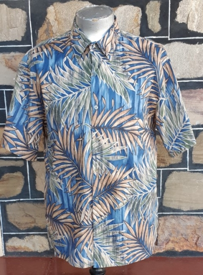 Hawiian shirt, blue palm print, cotton, USA, by 'Tori Richards' size XL