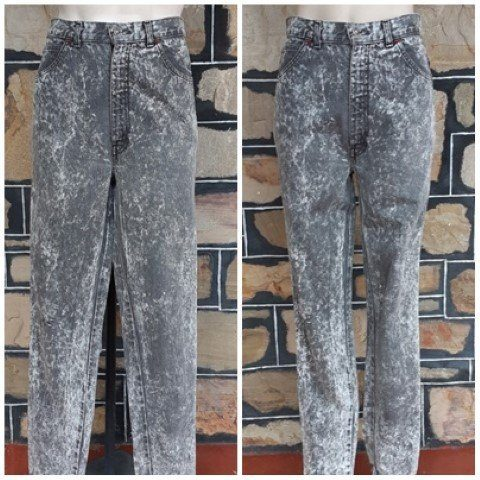 Unisex grey acid wash denim jean, 1980's by 'Oke Just Jeans', size 29""