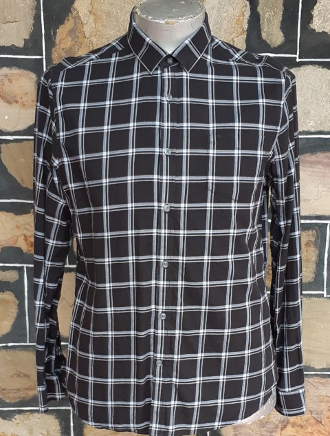 'Blaq' black/ white checked shirt, M