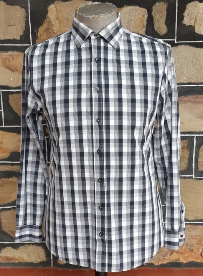 'Ben Sherman' black/ white checked shirt, cotton, slim fit, size M