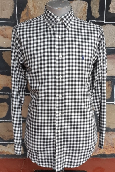 'Ralph Lauren' black/ white checked shirt, cotton, size 2XL