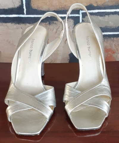Leather silver patent sling back heels by 'Franco Burrone' size 38.5