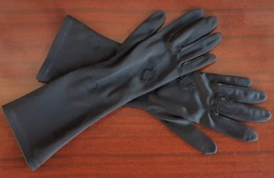 Vintage 3/4 length black gloves, nylon, size 6.5