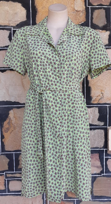 1970's Shirtmaker dress, polyester, green print by 'PTO', size 14