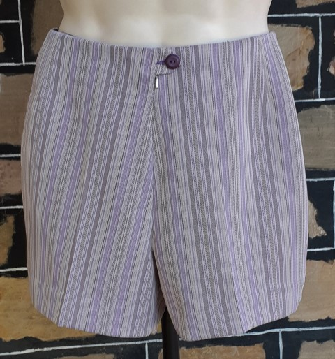 1970's Shorts/ bathers, polyester purple striped, by 'Fletcher Jones', size XS, 28""