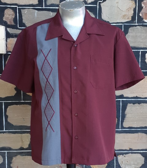 'Steady Clothing' Classics 'Christof' bowling shirt, maroon, polyester, size S