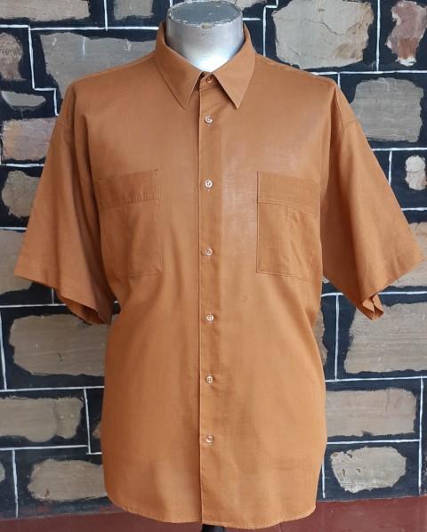 1970's Safari style shirt, poly/cotton, cinnamin, by 'Bel Air Country Club' size 2Xl -3XL