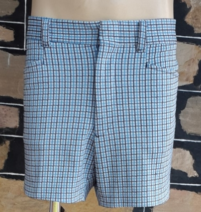 1970's Blue Checked shorts, polyester, by 'KMart', size 38""